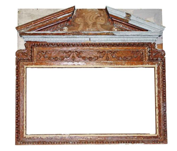 Overmantels & Mirrors - Wooden Over Mantel with Egg & Dart & Floral Detail