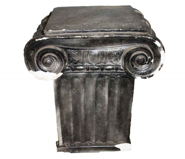 Pedestals - Reclaimed Painted Black Column Top Plaster Pedestal