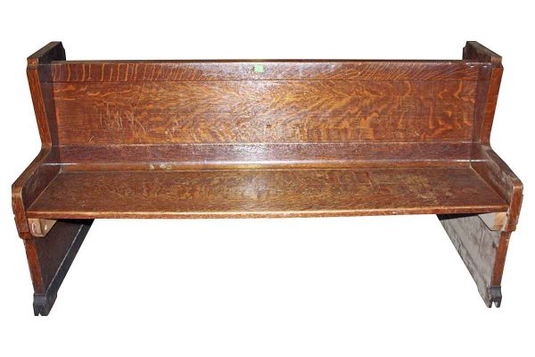 Religious Antiques - Antique 6 ft Double Sided Tiger Oak Church Pew