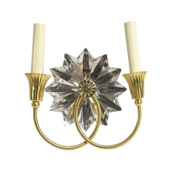 Sconces & Wall Lighting - French Brass & Crystal Art Deco Floral 2 Arm Sconce