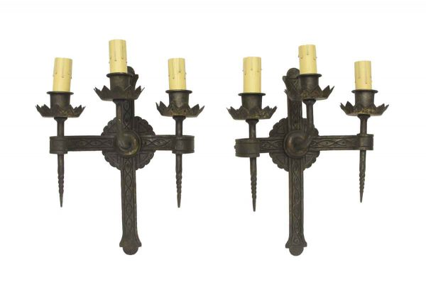 Sconces & Wall Lighting - Hand Forged Wrought Iron 3 Arm Pair of Wall Sconces