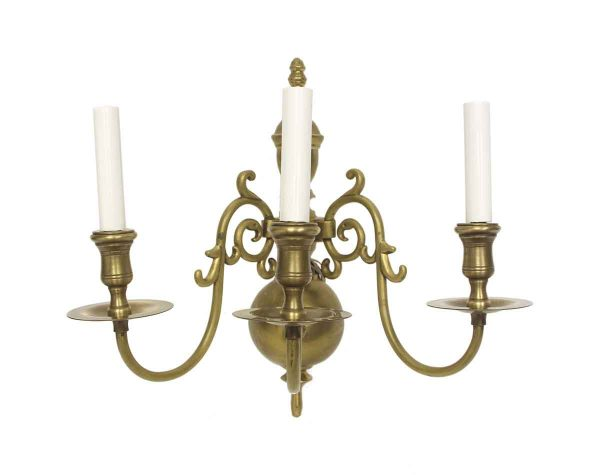 Sconces & Wall Lighting - Original Williamsburg 3 Arm Brass Wall Sconce