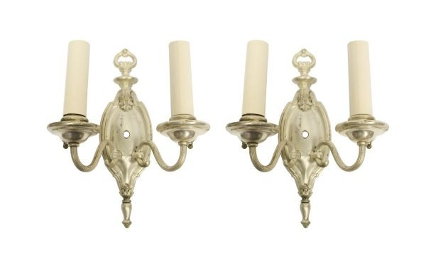 Sconces & Wall Lighting - Pair of 1910 Silver Over Brass Federal Wall Sconces