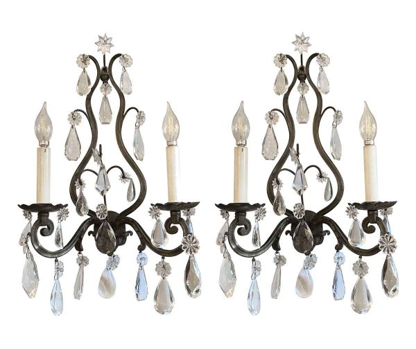 Sconces & Wall Lighting - Pair of Antique French Bronze & Crystal Wall Sconces