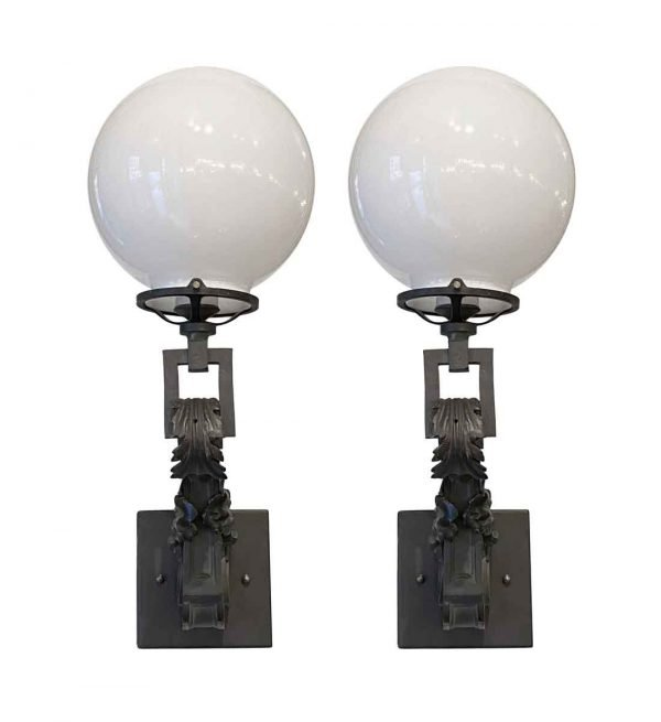 Sconces & Wall Lighting - Pair of Original Bronze Gas Wall Sconces with Opal Globes