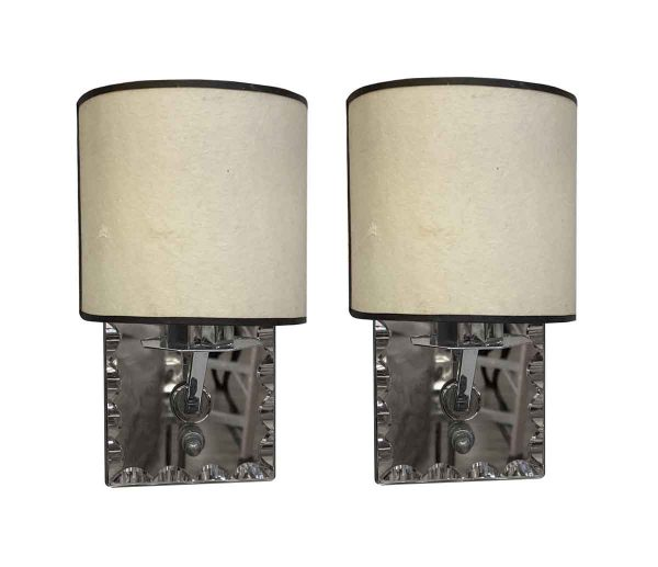 Sconces & Wall Lighting - Pair of Polished Nickel Scalloped Edge Mirrored Bathroom Sconces
