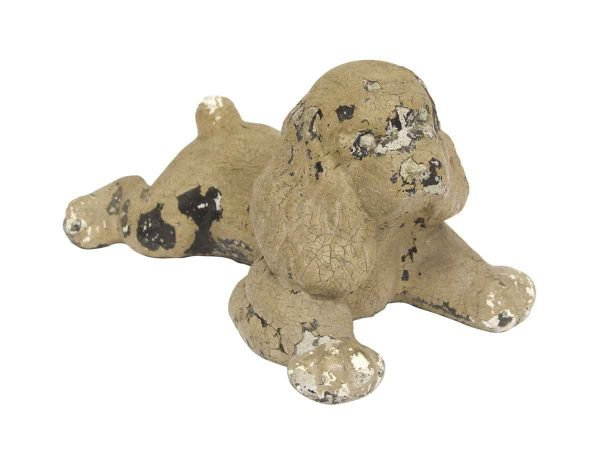Statues & Sculptures - Distressed Brown Painted Cast Stone Cocker Spaniel Dog