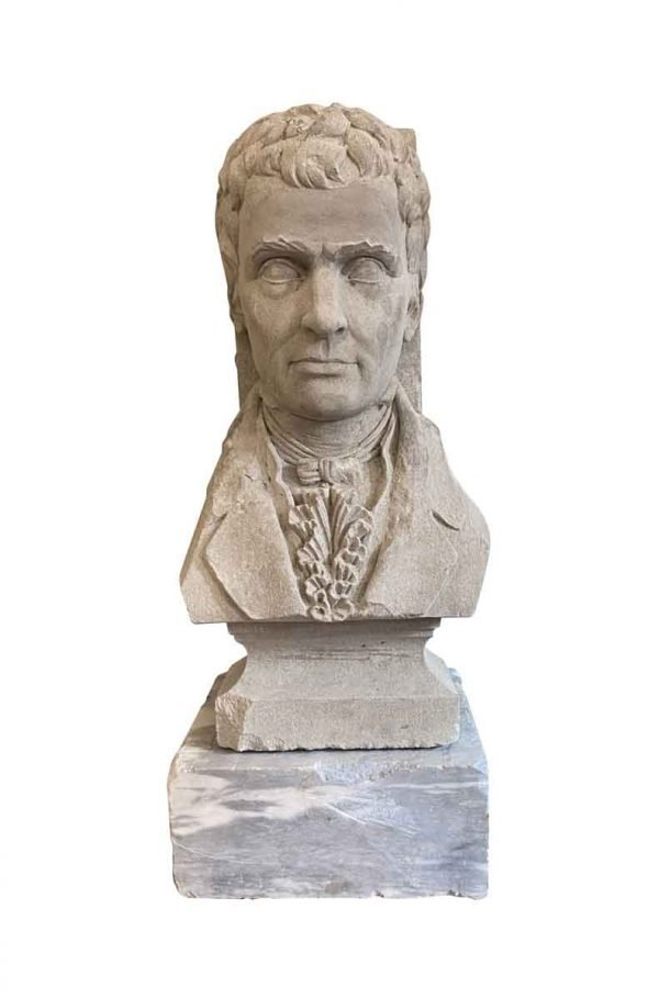 Statues & Sculptures - Limestone Bust of Robert Fulton on Marble Base