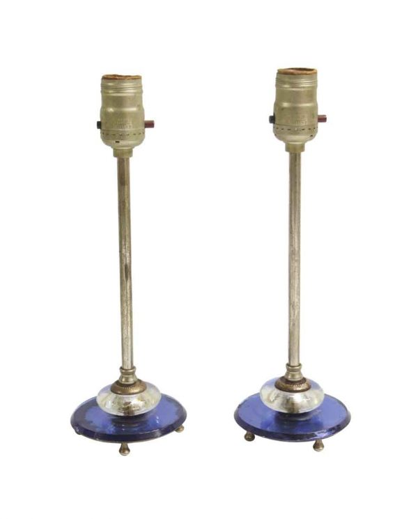 Table Lamps - Art Deco Vanity Lamps with Blue Mirror & Nickel Base