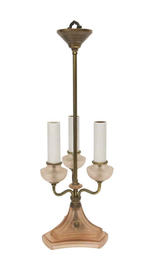 Table Lamps - Victorian Pink Glass 3 Arm Table Lamp