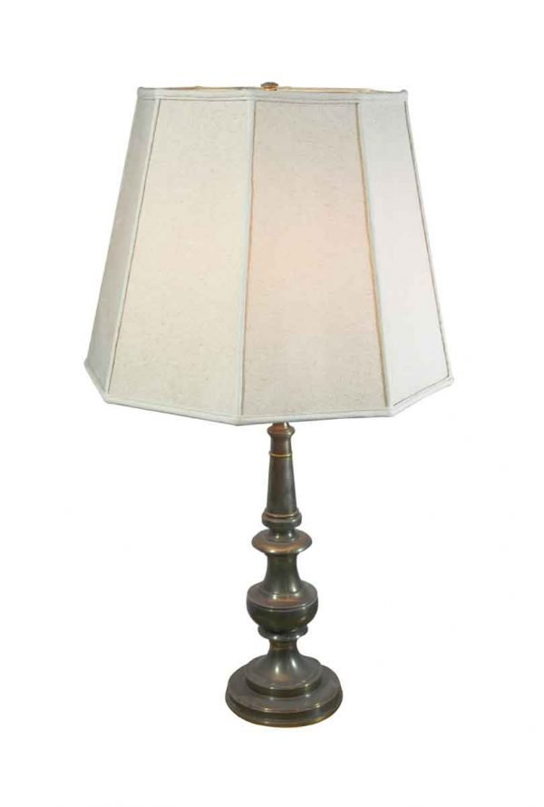 Table Lamps - Vintage Brass Table Lamp with White Shade