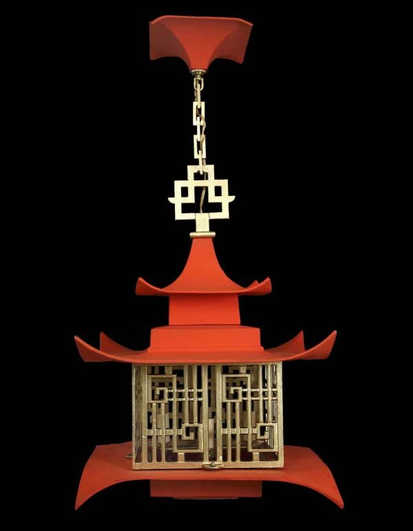 Wall & Ceiling Lanterns - Asian Red & Gold Pagoda Ceiling Lantern