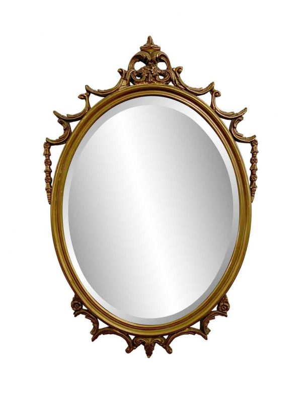 Antique Mirrors - Antique Carved Oval Wood Frame Mirror