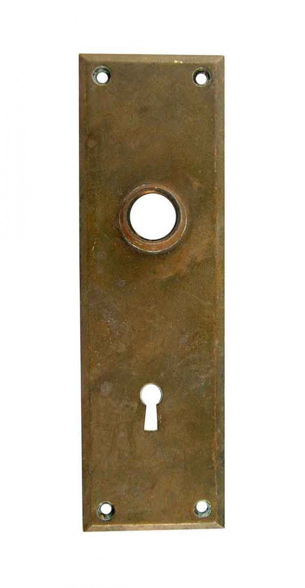 Back Plates - 7.5 in. Plain Cast Bronze Door Back Plate with Keyhole Cover