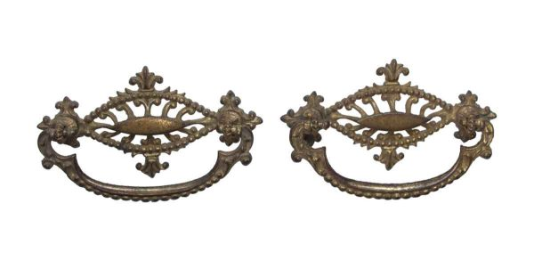 Cabinet & Furniture Pulls - Pair of Vintage Beaded Brass Bail Pulls