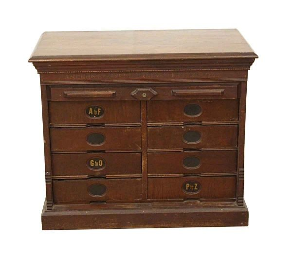 Cabinets - Antique Walnut Roll Front File Cabinet