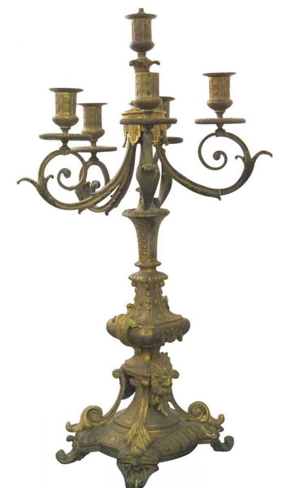 Candelabra Lamps - Antique Lion Brass Candelabra Table Lamp
