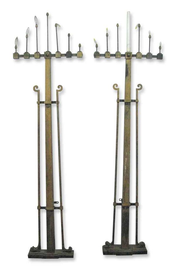 Candelabra Lamps - Pair of Arts & Crafts Iron Light Floor Lamps