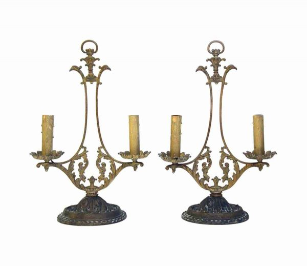 Candelabra Lamps - Pair of Victorian Bronze Double Arm Table Lamps