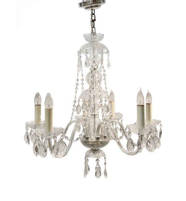 Chandeliers - 1920s 5 Arm Petite Clear Crystal Chandelier