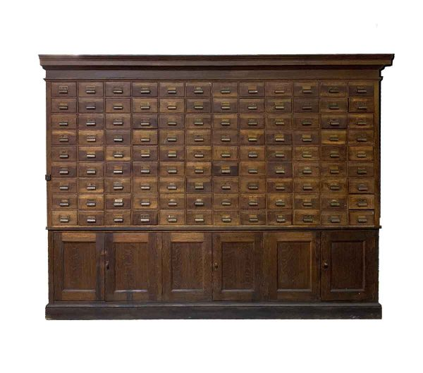 Commercial Furniture - Late 1800s Apothecary Card Catalog Wood Cabinet