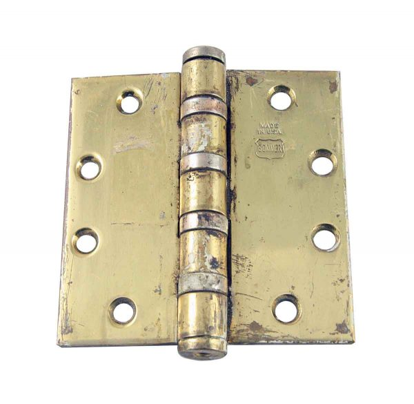 Door Hinges - Antique Bommer Brass Butt 4.5 x 4.5 Fire Door Hinge