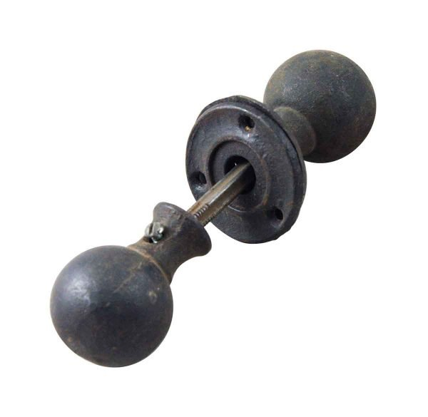 Door Knob Sets - Antique Black Cast Bronze Ball Shaped Door Knob Set