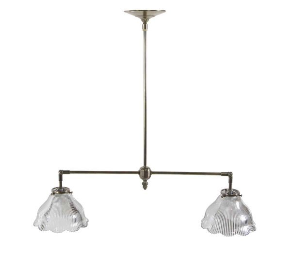 Down Lights - Double Brass Frame Ruffled Prism Glass Shade Pendant Light