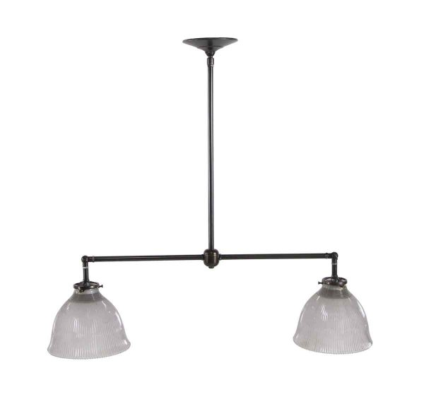 Down Lights - Frosted Holophane Double Brass Pendant Light