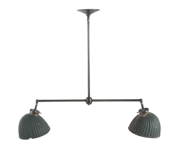 Down Lights - Green Painted X-Ray Glass Double Pendant Light