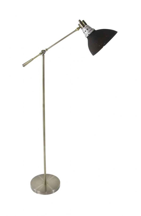 Floor Lamps - 1920s Black & Silvered Glass X-ray Shade with Brass Floor Lamp