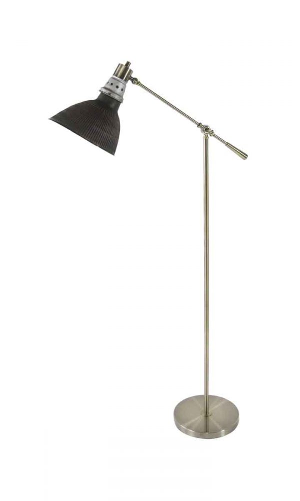 Floor Lamps - 1920s Copper & Silver Reflective Shade with Brass Floor Lamp