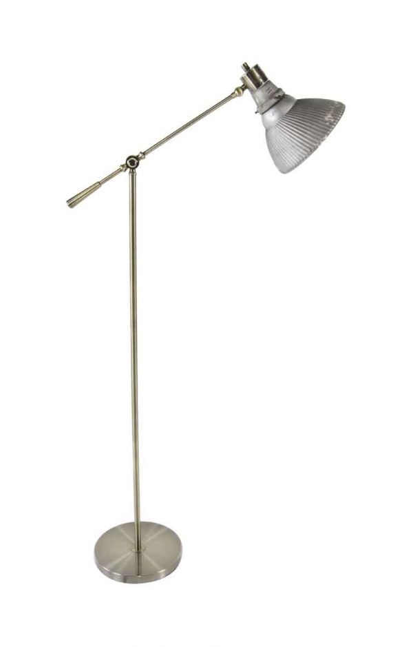 Floor Lamps - 1920s Mirrored Glass X-ray Shade with Brass Floor Lamp