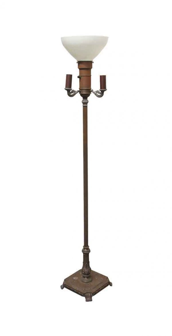Floor Lamps - Metal Floor Lamp with White Glass Shade
