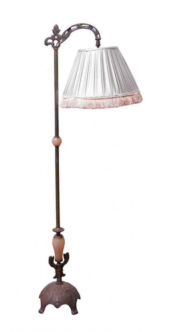 Floor Lamps - Vintage Bronze Floor Lamp with Silver & Pink Fringed Shade