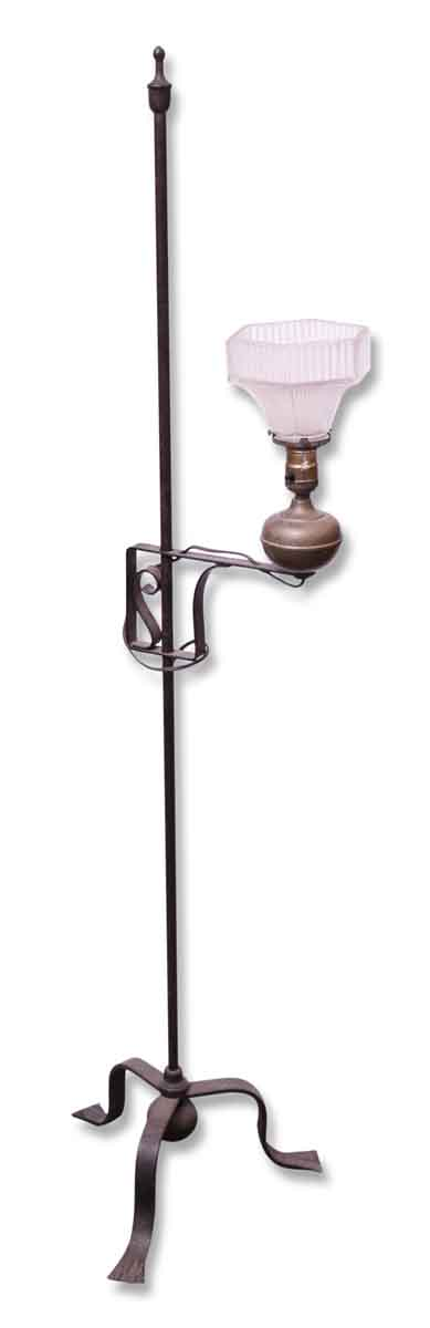 Floor Lamps - Vintage Metal Lamp with Art Deco Glass Shade