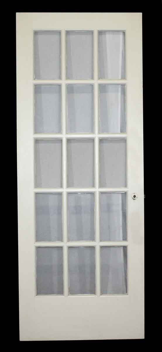 French Doors - Antique 15 Lite White Wood French Door 82 x 31.375