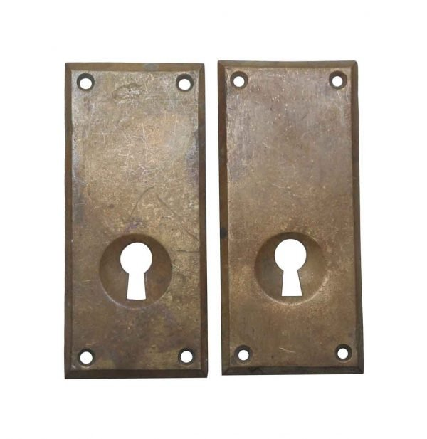 Keyhole Covers - Pair of Large Bronze Russwin Keyhole Covers
