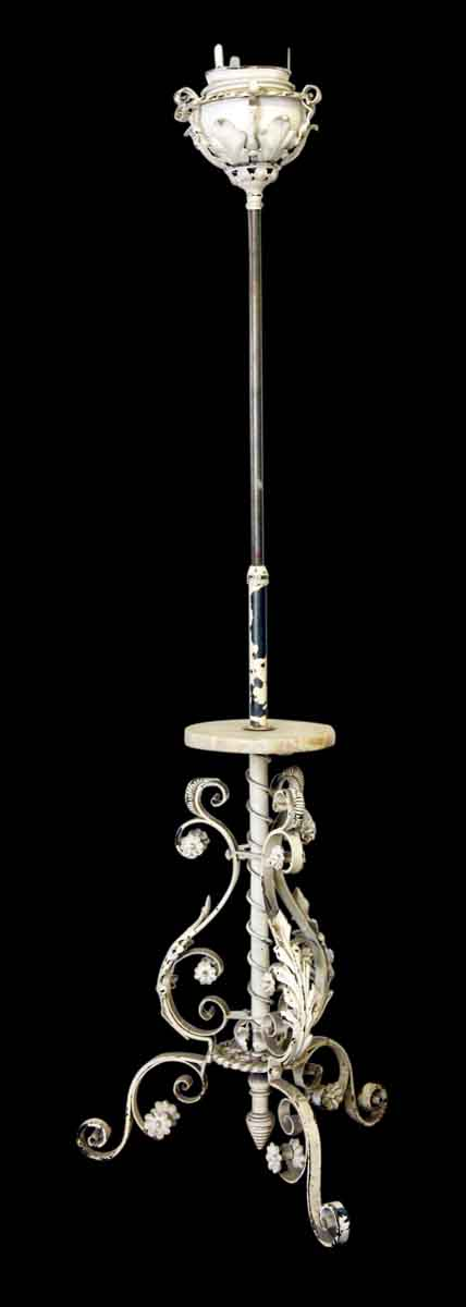 Lamp & Tables - Vintage White Floral Iron & Onyx Floor Lamp
