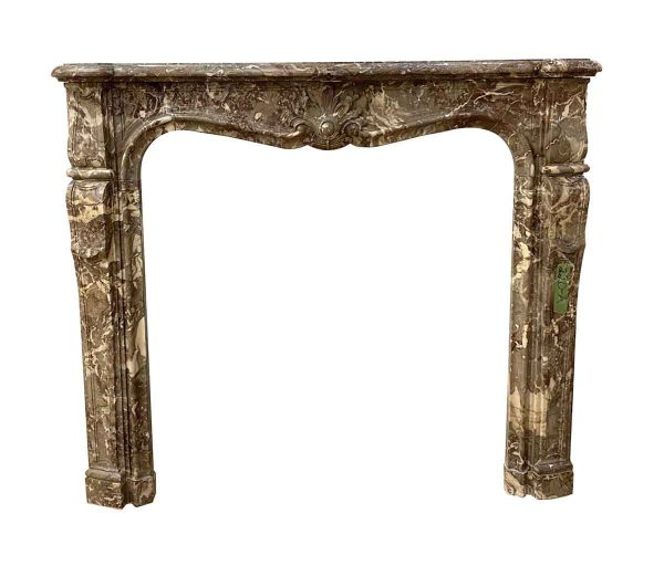 Marble Mantel - Antique French Petite Louis XV Brown Marble Mantel