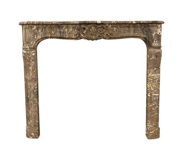 Marble Mantel - Carved French Louis XV Gray Marble Mantel