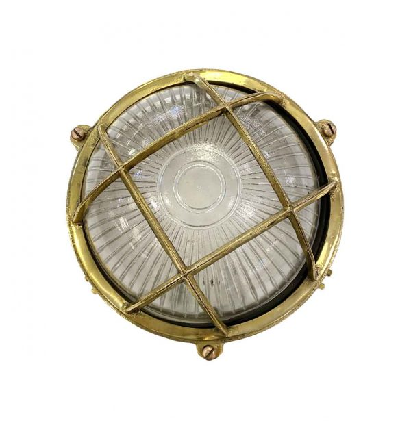 Nautical Lighting - Round Brass 9 in. Nautical Cage Light