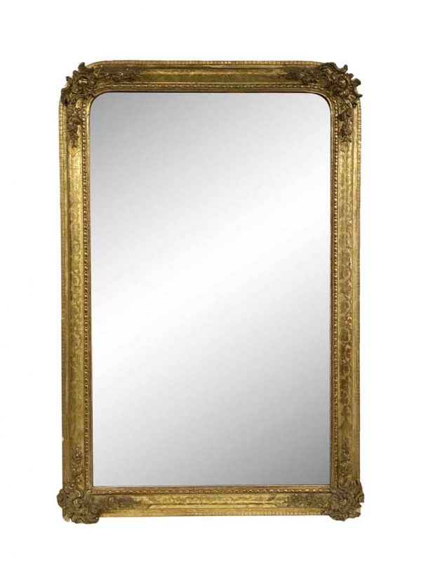 Overmantels & Mirrors - European Gesso & Hand Carved Gilt Floral Wood Mirror