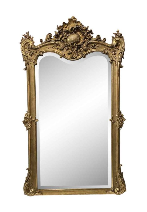Overmantels & Mirrors - European Gesso & Hand Carved Gilt Wood Beveled Glass Mirror