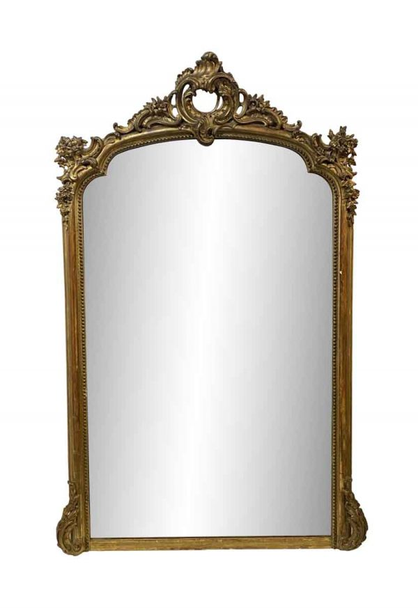 Overmantels & Mirrors - European Hand Carved Floral Gilt Wood Wall Mirror