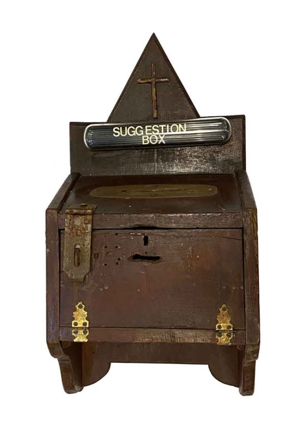 Religious Antiques - Arts & Crafts Wooden Church Suggestion Box
