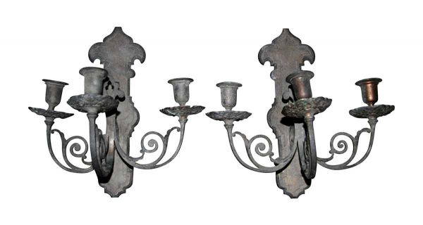 Sconces & Wall Lighting - Pair of Antique Bronze 3 Arm Wall Sconces