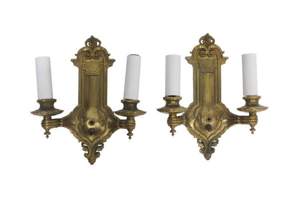 Sconces & Wall Lighting - Pair of Brass 2 Arm Victorian Wall Sconces
