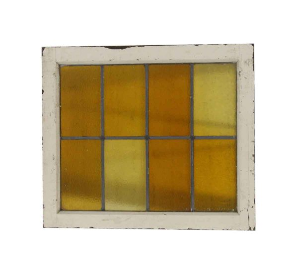 Stained Glass - Antique Amber Stained Glass Wood Frame Window 28 x 24