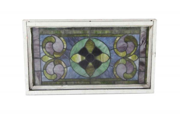 Stained Glass - Antique Stained Glass Metal Frame Window 34 x 20